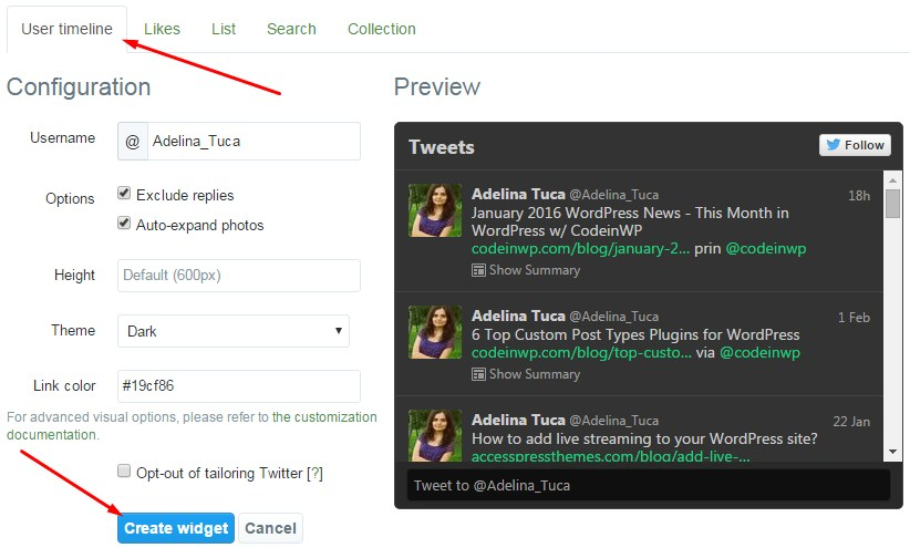 twitter feed creation