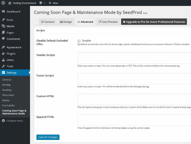Maintenance Mode Advanced Tab