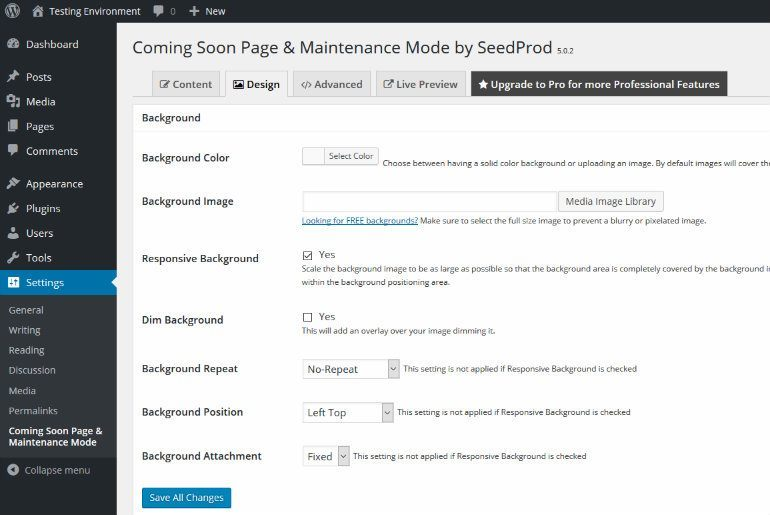 Maintenance Mode Design Tab
