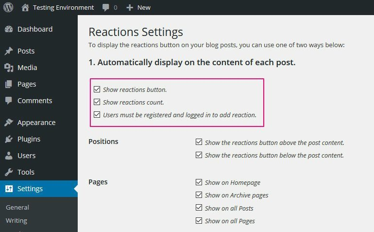 Configuring DW Reactions to add Facebook Reactions to WordPress