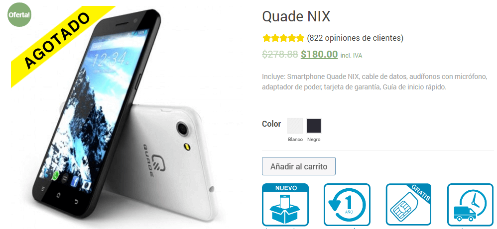 A screenshot of a Quade Ecuador product.