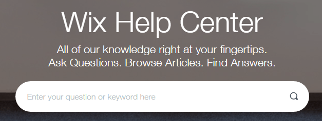 A screenshot of Wix's Help Center.