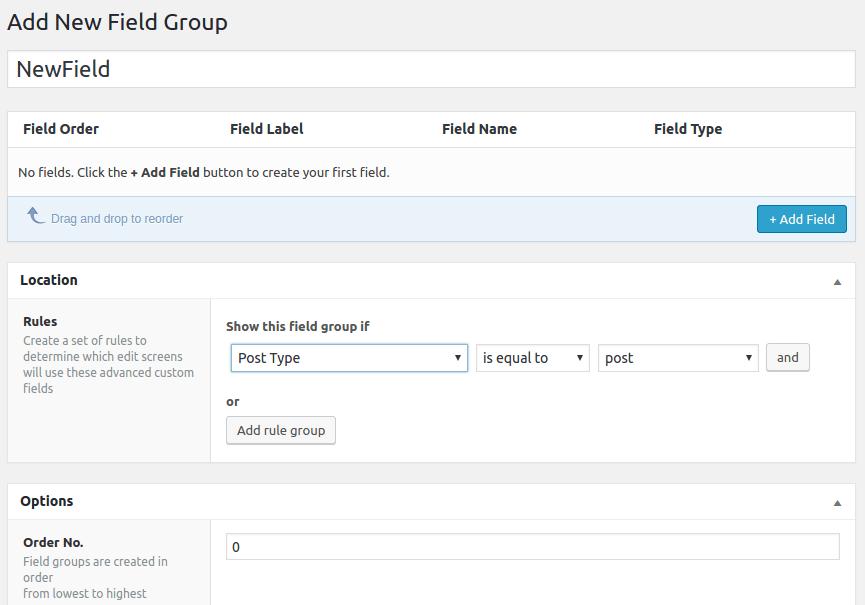 Advanced Custom Fields Field Group