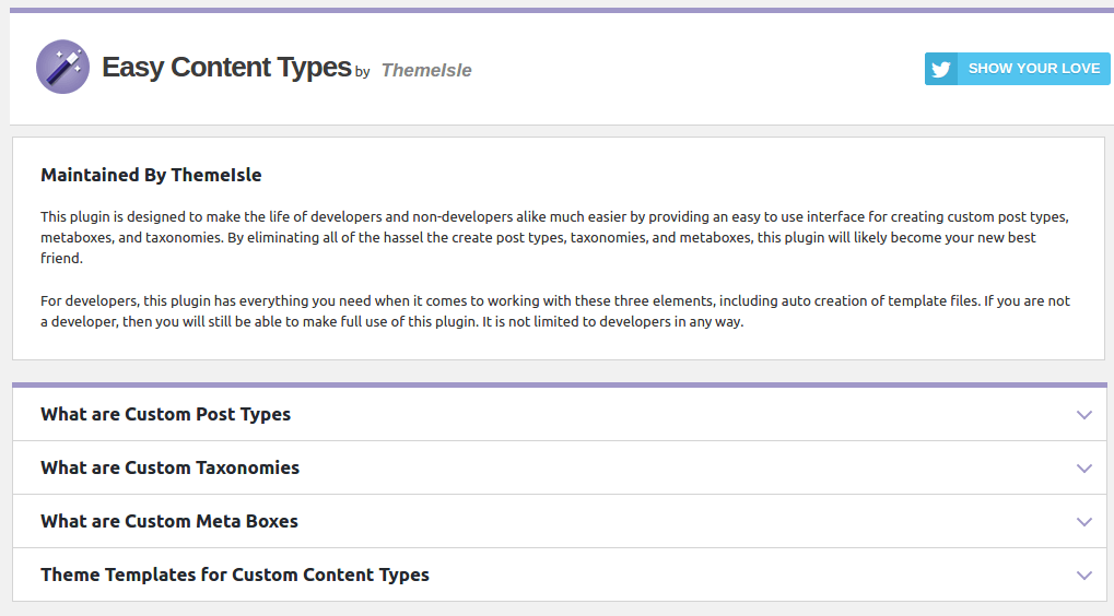 Easy Content Types Interface