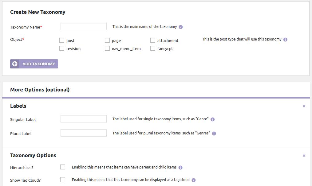 Easy Content Types Taxonomy