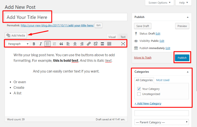 Using the WordPress editor
