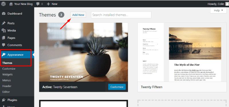 Adding a new WordPress theme