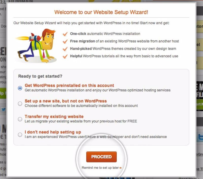 Create a WordPress blog with SiteGround install wizard