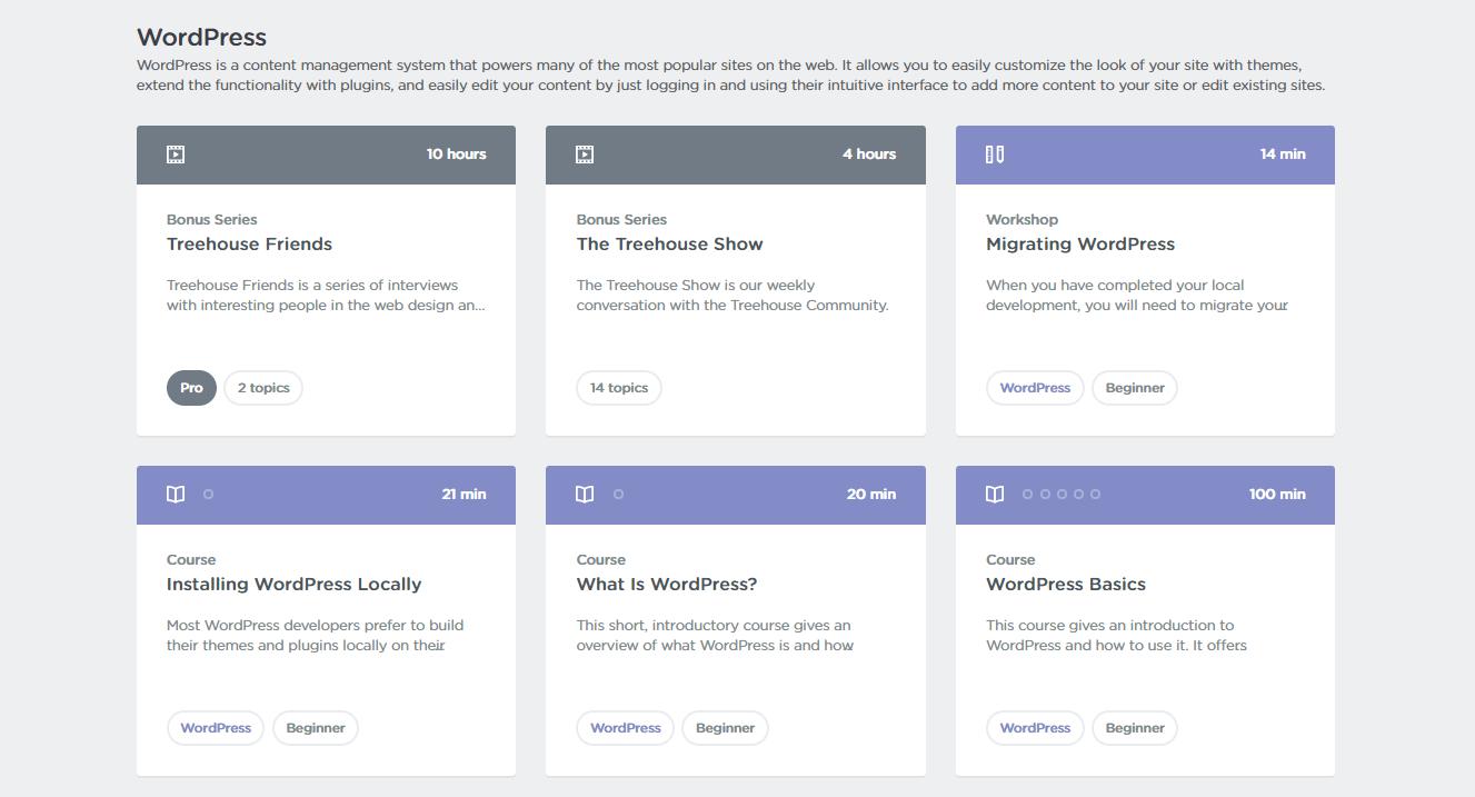 Online WordPress courses on Treehouse.