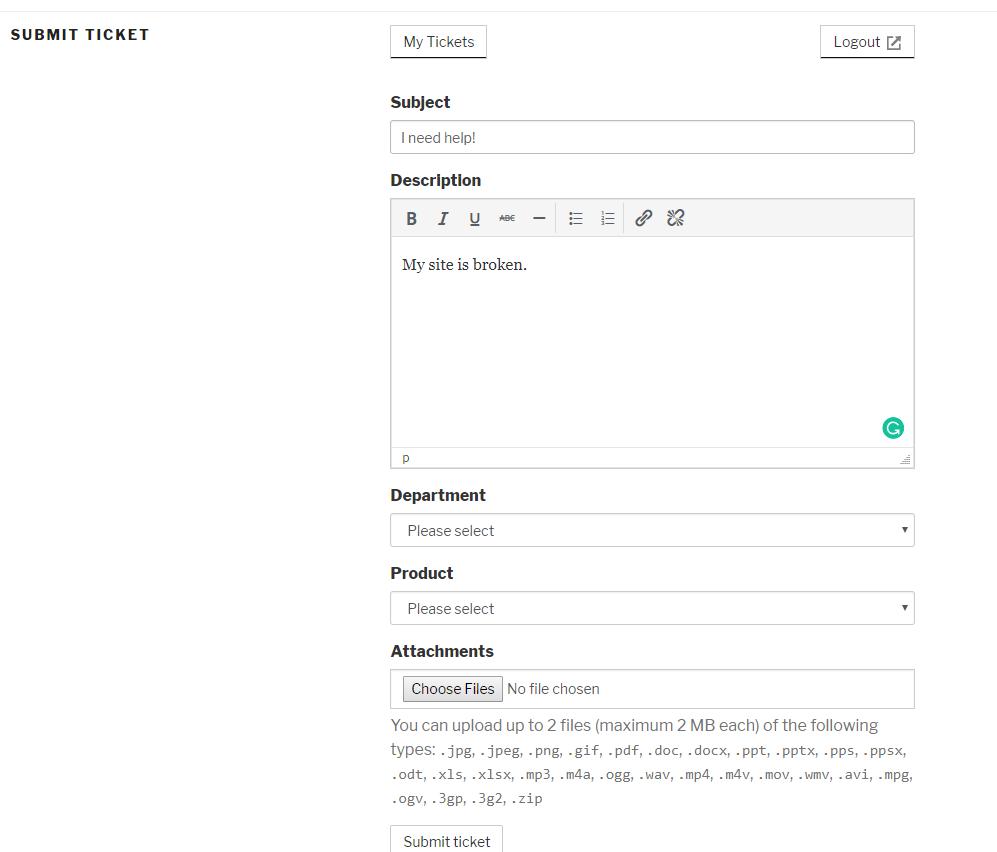 submit ticket form - WordPress helpdesk
