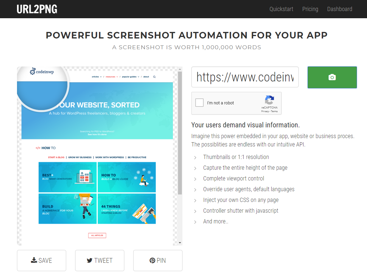 URL2PNG - best website screenshot tools