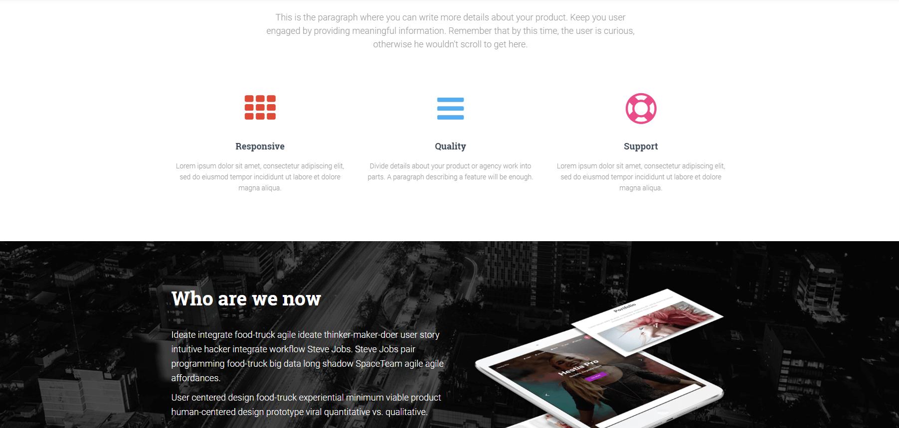 The demo of the Hestia WordPress theme.