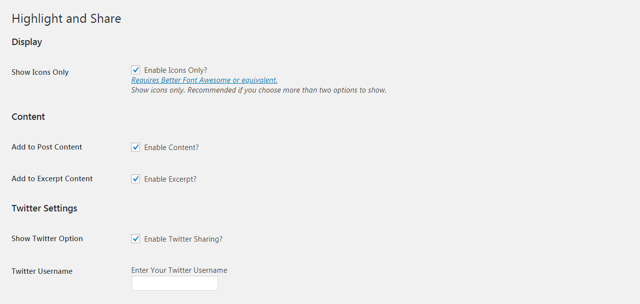 The Highlight and Share plugin settings.