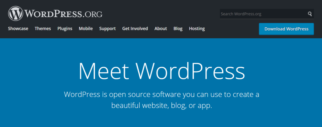 The WordPress website home page.