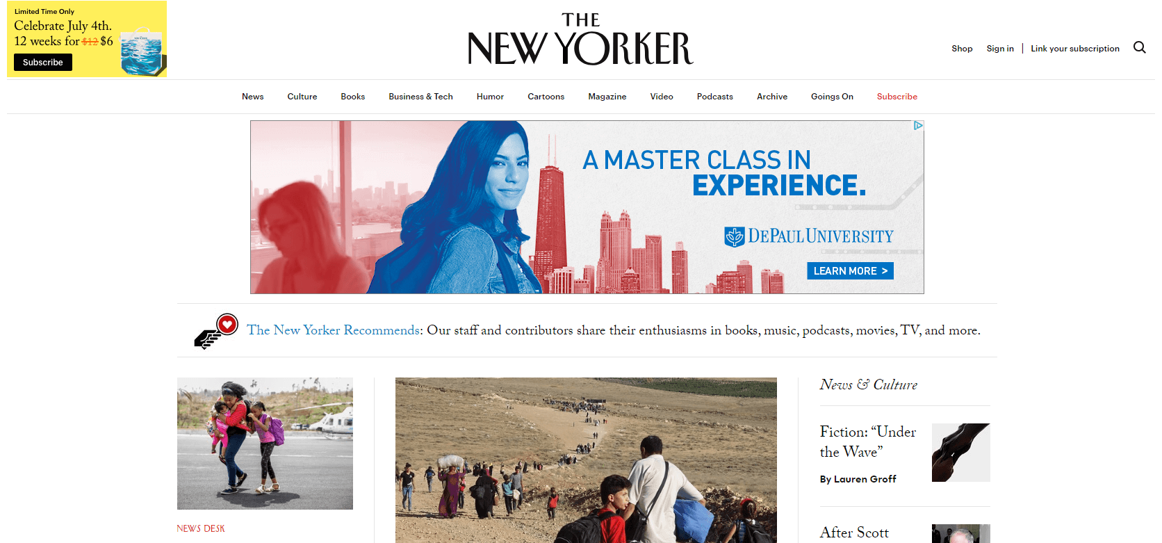 The New Yorker website.