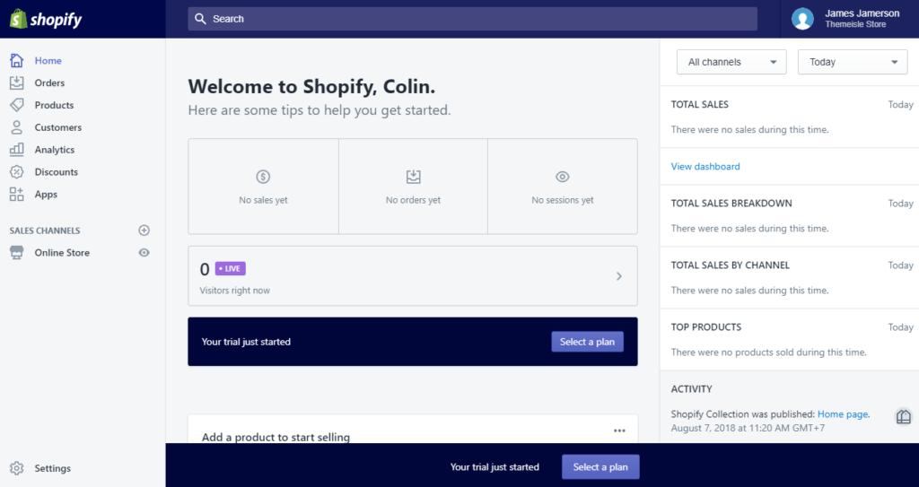 shopify dashboard
