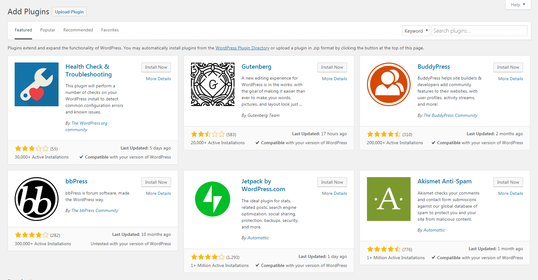 WordPress plugins in the dashboard.