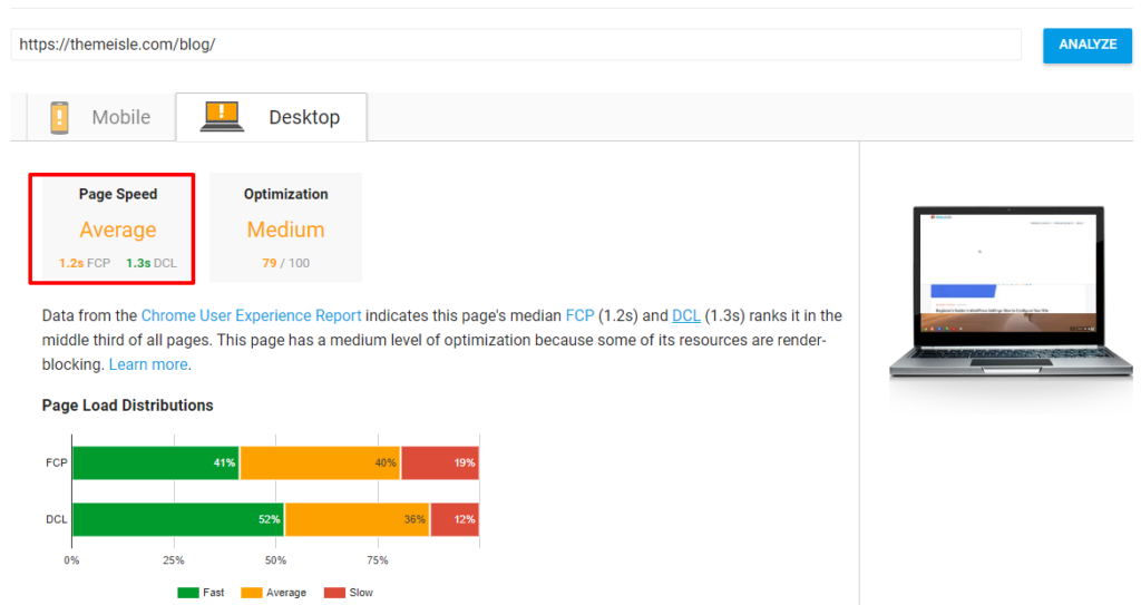 Google PageSpeed Insights results