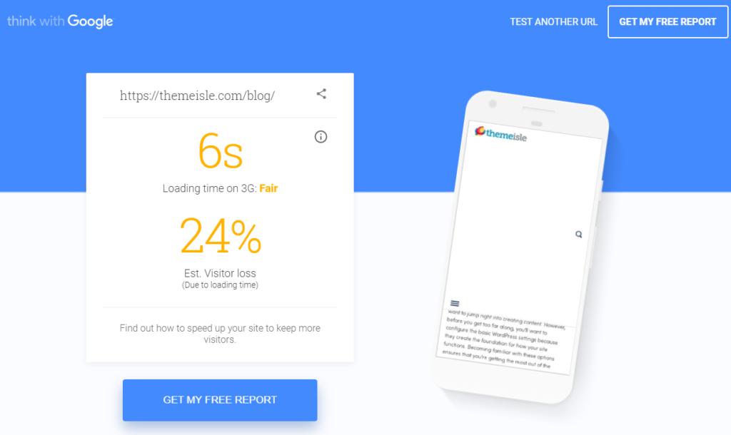 Google mobile speed test